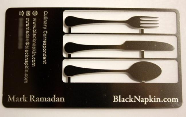 Это визитка превращается внабор кухонных принадлежностей, которые можно использовать поназначению.