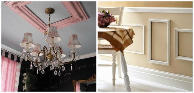 Ненужные рамы могут заменить собой молдинги для стен или потолка. Как ихсделать, смотрите тут . <br