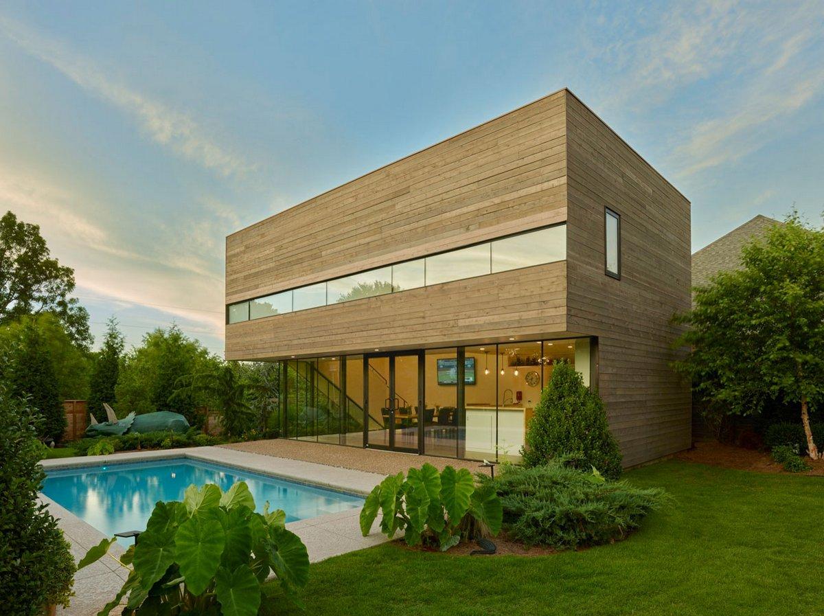 Marlon Blackwell Architect, Srygley Pool House, пулхаус, кедровый сайдинг фото, деревянный фасад дома сайдинг фото, горизонтальные окна фото, бассейн