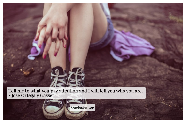 Tell me to what you pay attention and I will tell you who you are. ~Jose Ortega y Gasset