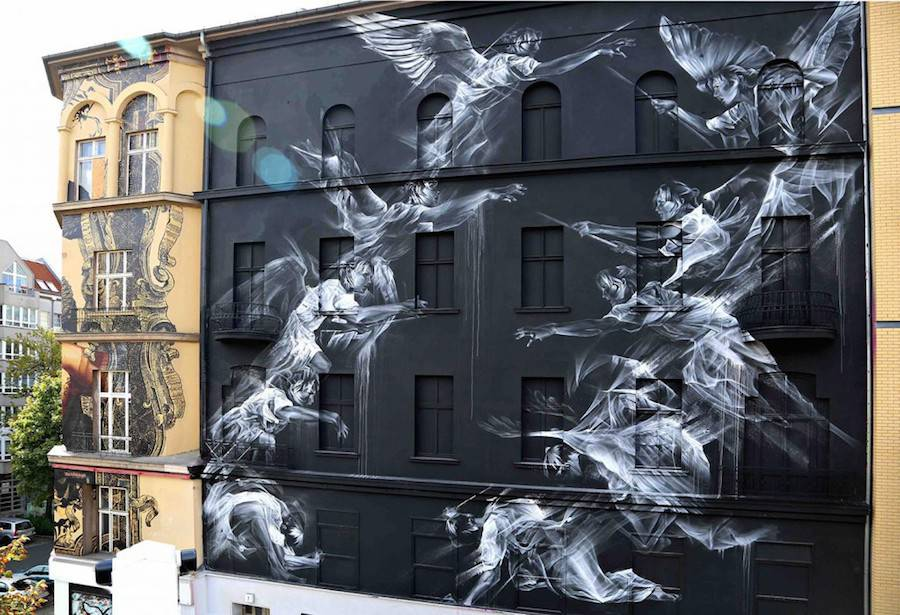 Big Wall Street Art Featuring Ghostly Frescos (10 pics)