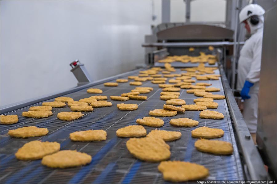 Как делают куриные котлеты для Макдоналдс