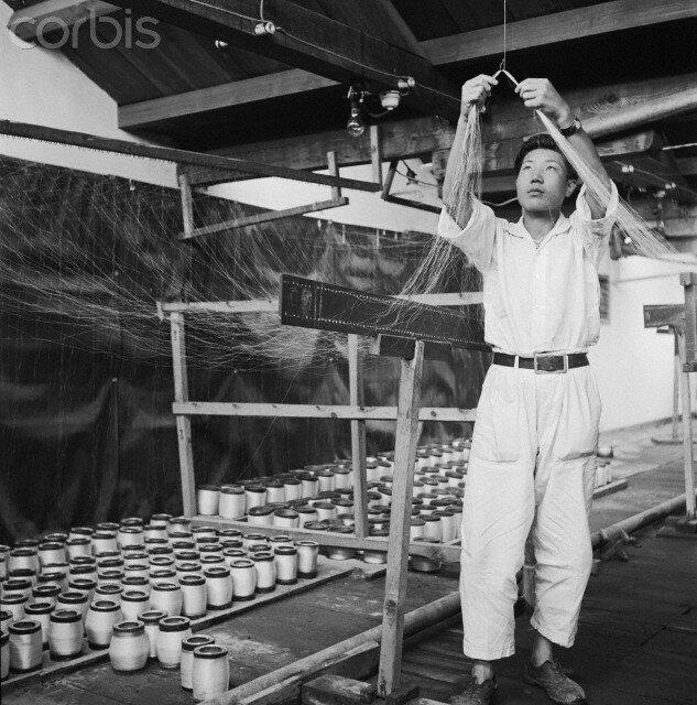 Man Winding Silk Thread on Spools