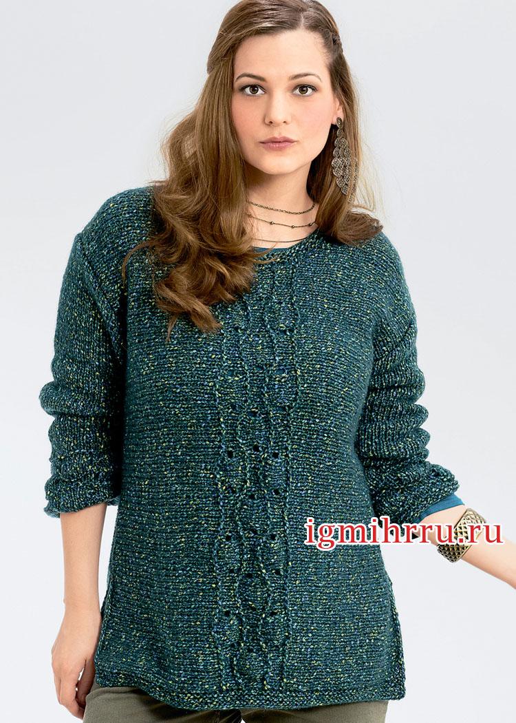 Большие размеры. Пуловер изумрудного цвета, связанный в поперечном направлении. Вязание спицами