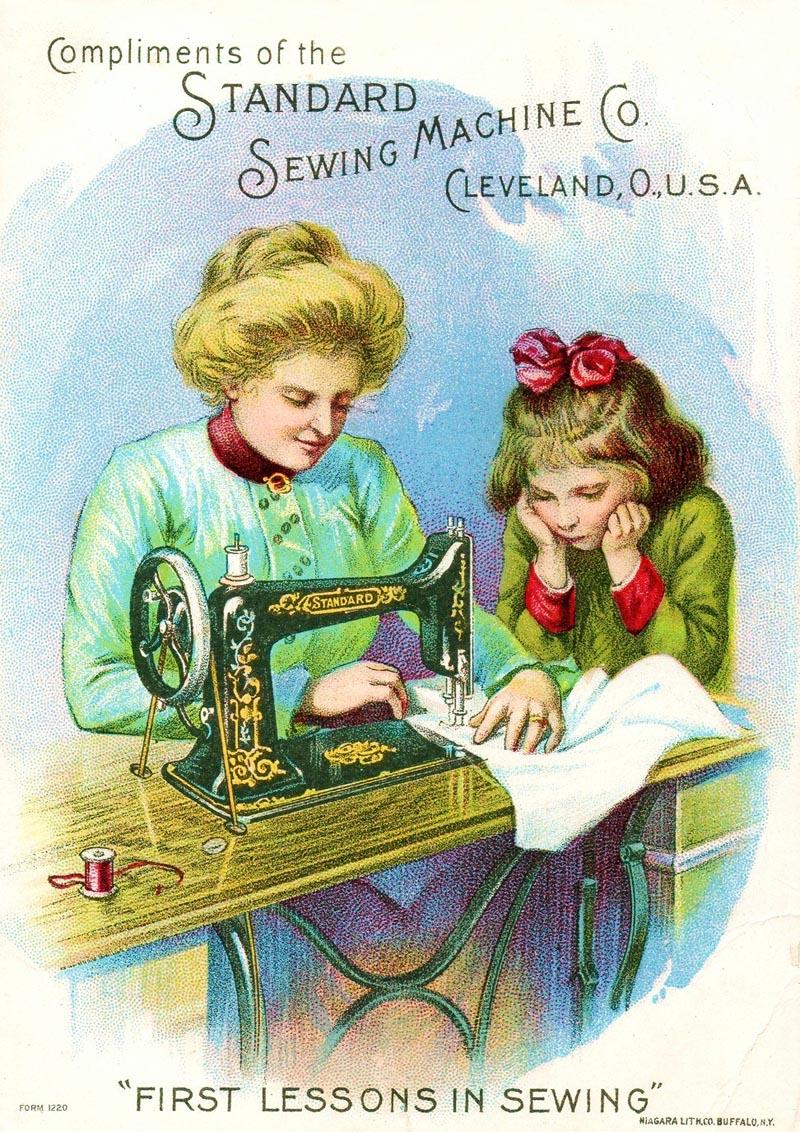 Рекламные карточки швейных машин XIX века., винтаж