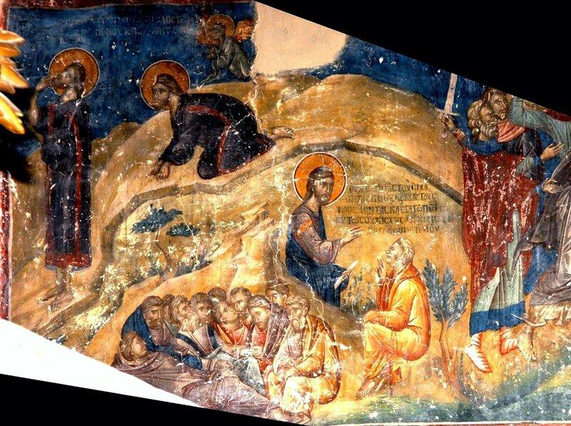 Моление о Чаше. Фреска церкви Св. Николая Орфаноса в Салониках, Греция. XIV век.