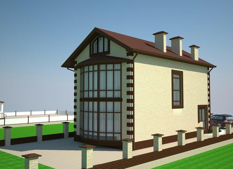 Проект частного дома. Фасад 3