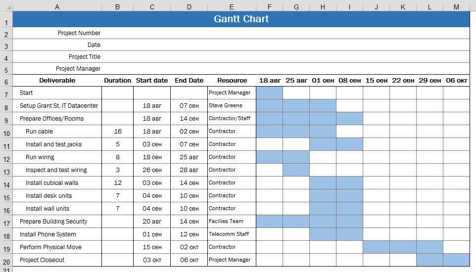Календарный План в Excel скачать