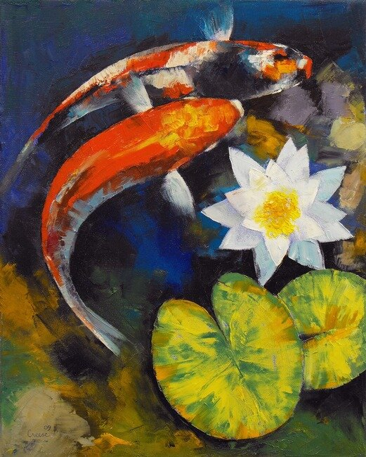 """Koi Fish and Water Lily"" by Michael Creese"