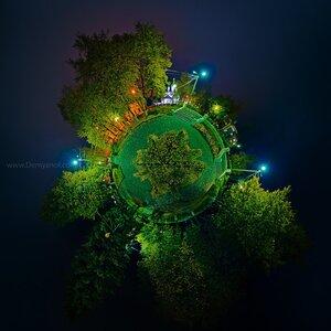 Осенний планетарий микропланета, Чебоксары, ночь, панорама, coordinates