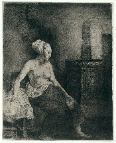 54. Женщина, сидящая полуодетая у печи, 1658. Рембрандт на бумаге. Rijksmuseum.
