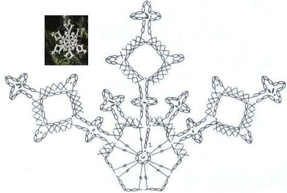 вязание крючком, снежинка, схема.