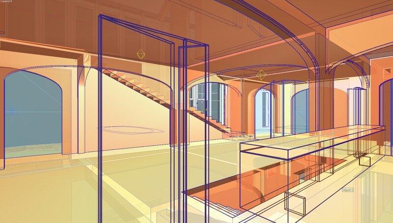 Интерьер гостиной, через светопрозрачное остекление кухни, лестница вниз на первый этаж и на второй, ванная, каминная. Проектирование жилого дома коттеджа для большой семьи. Архитектурный предпроект.