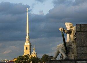 Днепр на Неве (Днепр, закат, Петербург, Петропавловская крепость, скульптура)