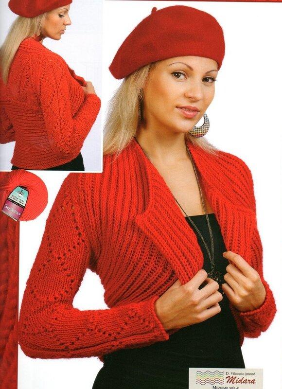 Болеро спицами - схема вязания. петель на.