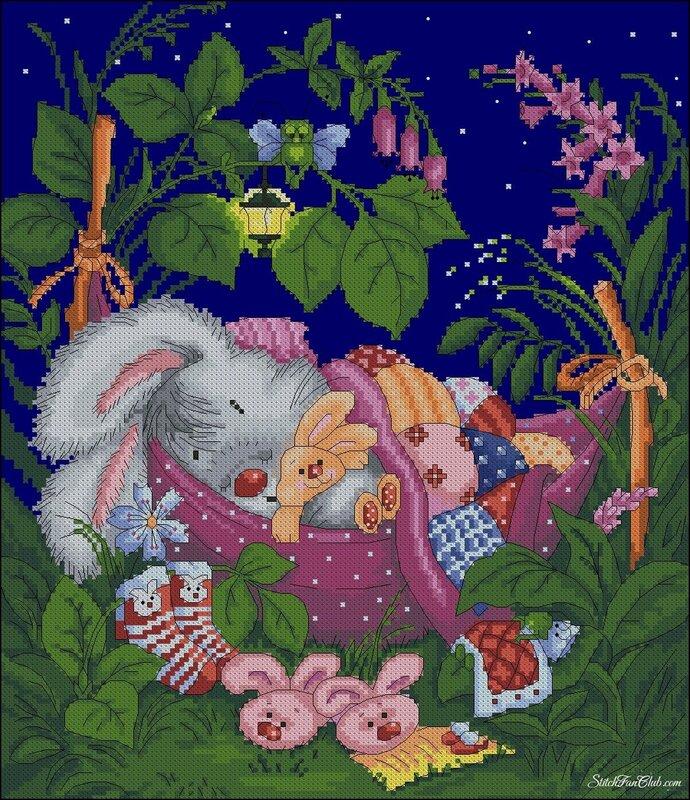ЛанСвит делает красивые схемки и мне ну уж очень понравился этот зайчишка, скажем... подбор ниточек на глаз.