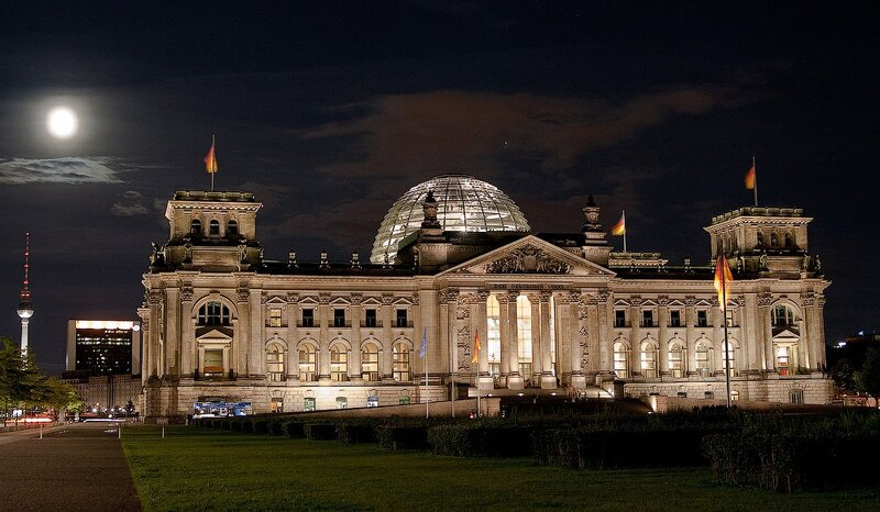 фотографии ночной берлин, германия отчёт, германия фотоотчёт, Рейхстаг фото
