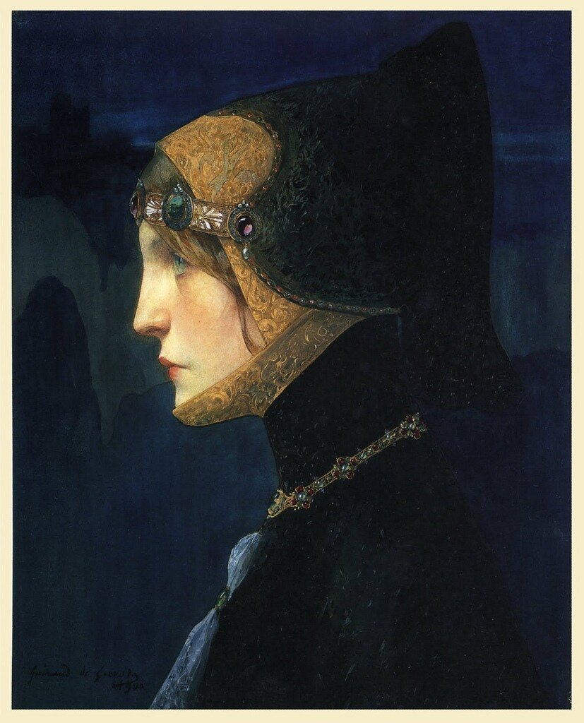 Lucien Victor Guirand de Scévola Head of Lady in Medieval Costume 1900