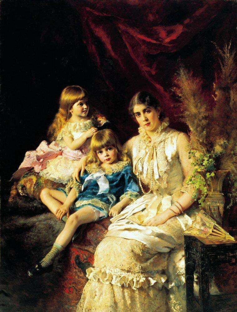 Константин Егорович Маковский. Семейный портрет. 1882г
