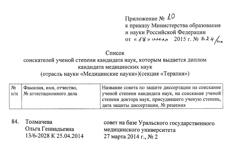 Фрагмент приказа о выдаче диплома кандидат наук Толмачевой.png