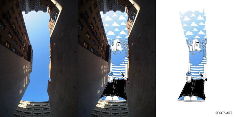 Художник Томас Ламадье заполняет небо городов своими картинами