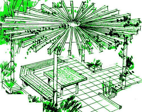 площадка с навесом на даче