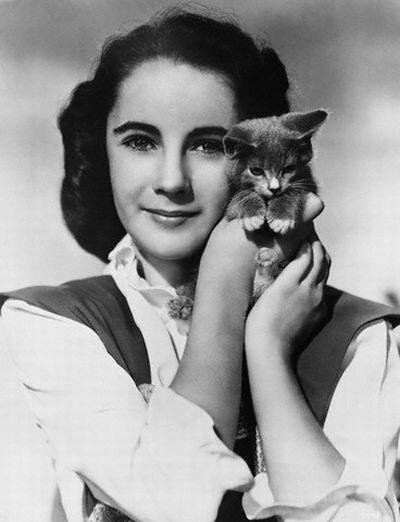Elizabeth Taylor Holding Kitten