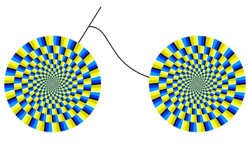 оптическая иллюзия, велосипед