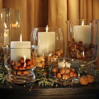 декорирование свечей орехами фундука