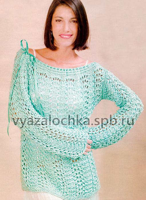 """Ажурный пуловер с вырезом """"мыс"""""""