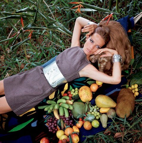 Model Veruschka in Denim and Aluminum