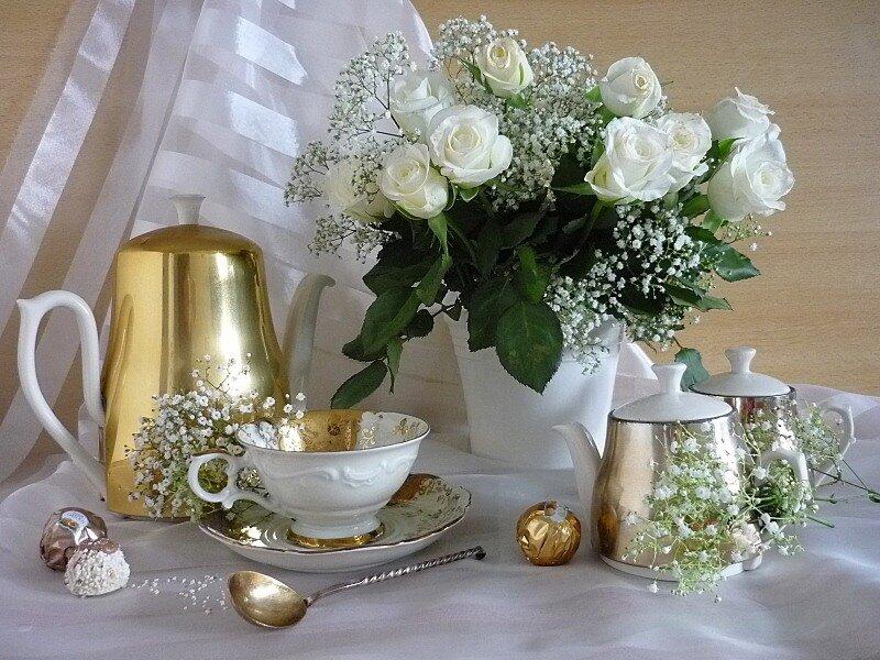 Открытка доброе утро белые розы, картинки добрым утром