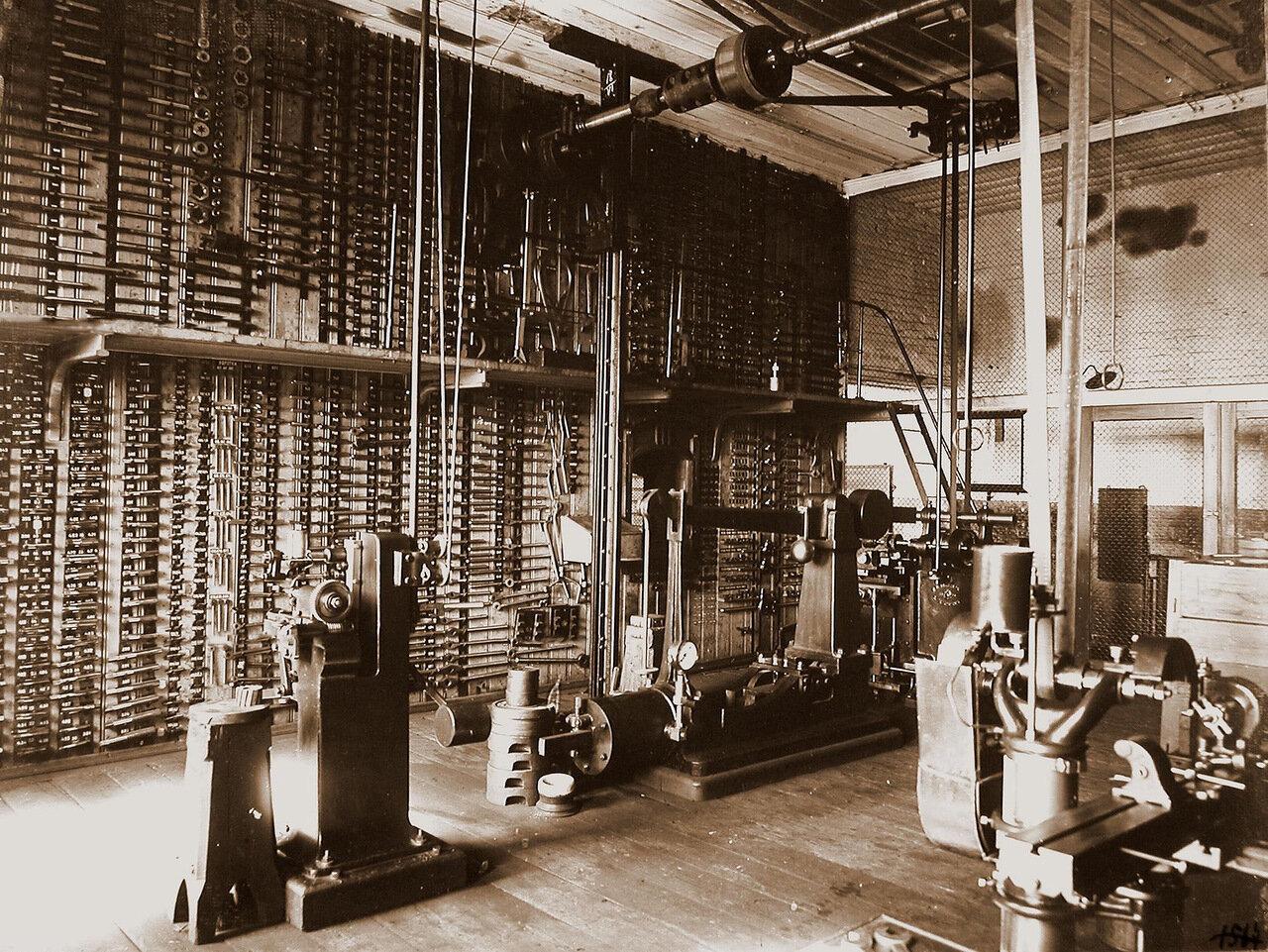33. Вид станков (на первом плане) и инструментов плашек для нарезки внутренней и наружной резьбы в одном из цехов мастерской