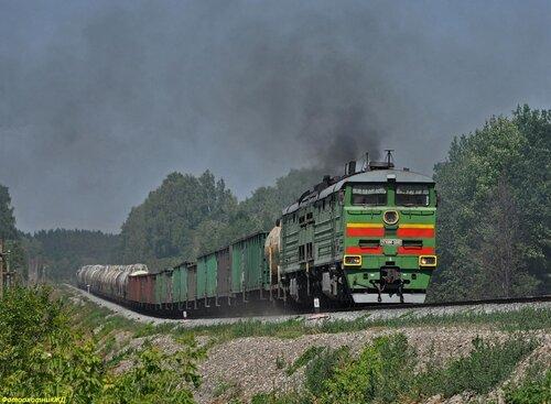 Тепловоз 2ТЭ10М-0495 с грузовым поездом на перегоне САХАРОЗАВОДСКАЯ - ТАЗЛАРОВО