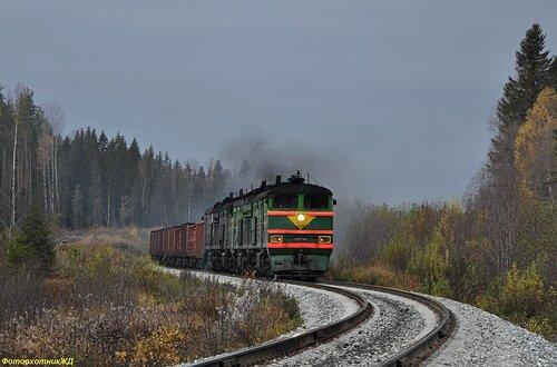 Система тепловозов 2ТЭ10В-3689 и 2ТЭ10М (горячий) с грузовым поездом
