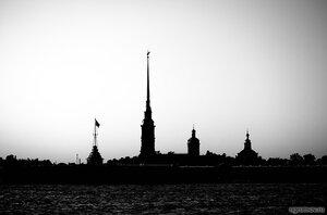 Силуэт Петропавловской крепости (монохром, Петербург, Петропавловская крепость, силуэт)