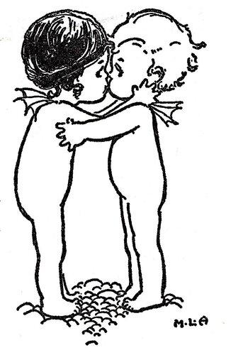 милый черно-белый рисунок Эттвелл, Лондон, дети