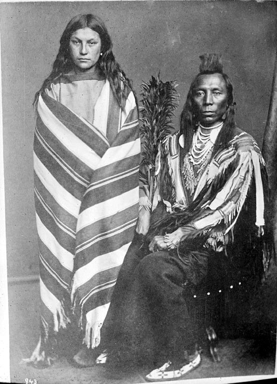 American Indians  Old Crow and wife Pretty Medicine Pipe - Crow 1873.