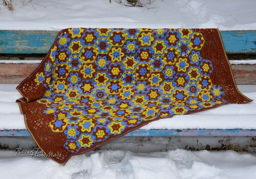 blanket, crochet blanket, throw, crochet throw, crochet motif, roventa-handmade, вязаный плед, плед, плед крючком, плед мотивами, плед из мотивов, вязаный мотив цветок,