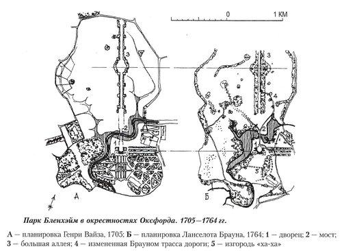 Парк Бленхэйм около Оксфорда, планировки 1705 и 1764 годов