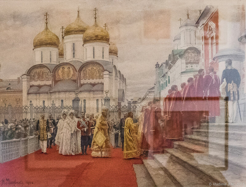 Шествие императорской фамилии из Успенского собора в Чудов монастырь 2 апреля 1900 г. Матвеев Н.С. Картон, акварель.