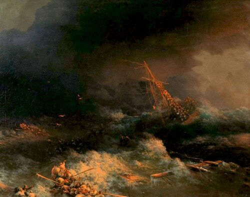 И.К. Айвазовский. Крушение корабля Ингерманланд в Скагерраке в ночь на 30 августа 1842 года. 1876.