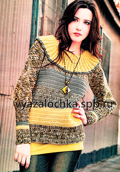 Пуловер с воротником-пелериной