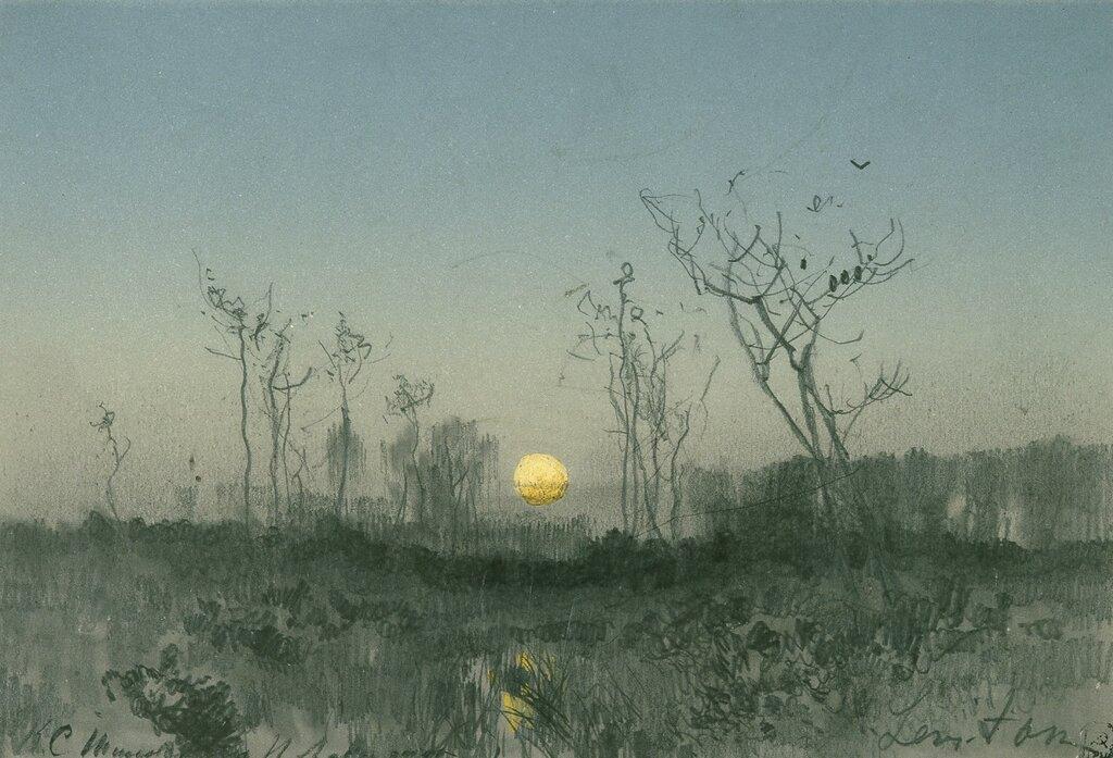 Лунный пейзаж (Пейзаж с луной). Конец 1880-хПапье-пелле, акварель, графитный карандаш. 15 x 21 смГосударственный Русский музей, С.-Петербург
