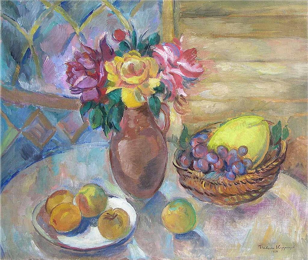 Натюрморт с цветами и фруктами. 1910-еХолст, масло. 59 x 70 смЧастное собрание