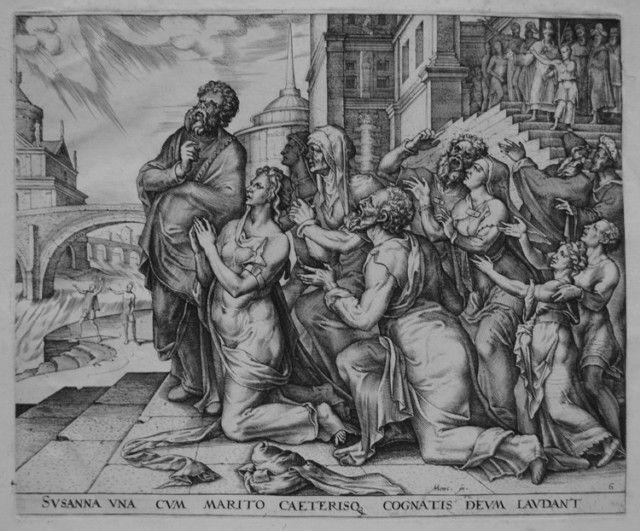 Сусанна и ее родственники славят Господа. Филиппс Галле, гравюра, 1563