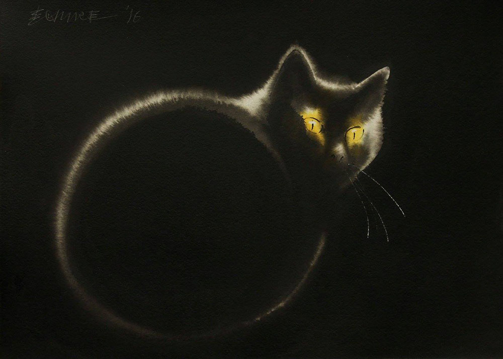 Dreamy New Ink Paintings of Ghostly Felines and Chickens by Endre Penovac (10 pics)