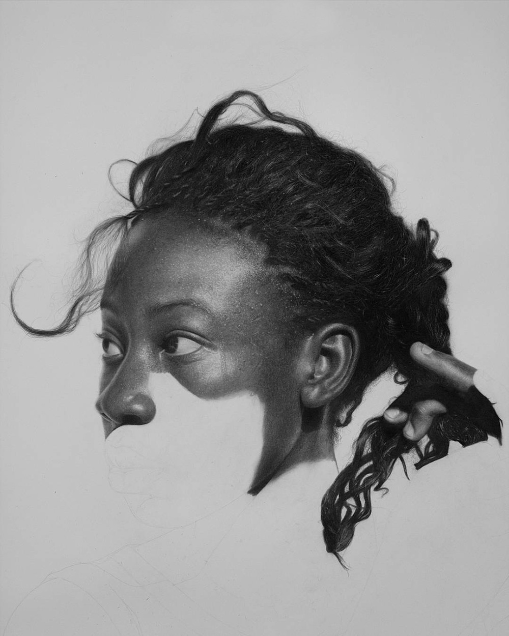 Till He Comes, 2017. Progress photo. Graphite and charcoal pencils.