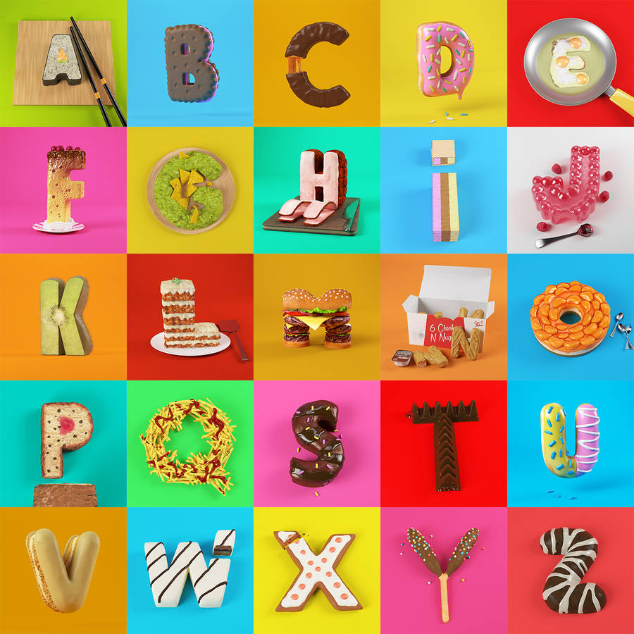 Appetizing 3D Food Alphabet (26 pics)
