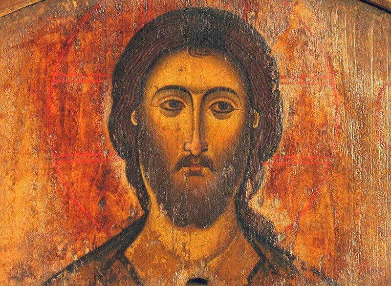 Лик Спасителя. Фрагмент грузинской иконы.